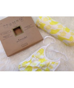 Pack Mimuski Swaddle+Babete Amarelo
